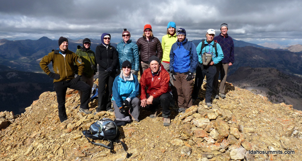 This photo is from the Idaho Summit Fall Outing Climb. Probably more people on the summit in one day than in the last five years.