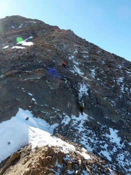 Climbing the NE ridge of Donaldson. Mark Jones Photo.