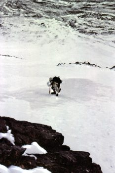 "Mike ""frenching"" on hard ice on the lower North Face of Mount Borah, October, 1976. Photo - Bob Boyles."