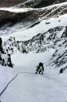 Mike on his front points at the bottom of the main couloir on the North Face of Mount Borah. Photo - Bob Boyles