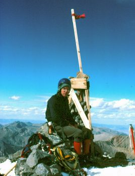 Mike Weber on the summit. Photo - Bob Boyles