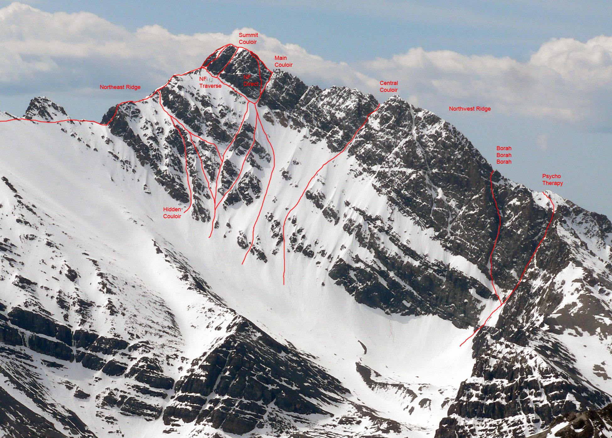 Mount Borah North Face routes. Photo - Dan Robbins