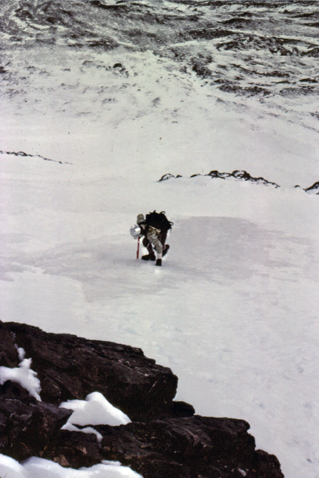Mike Weber showing off his French technique on the lower ice fields of Mt Borah. If you look closely, you can see the old blue ice showing in places.  Bob BoylesBob Boyles photo