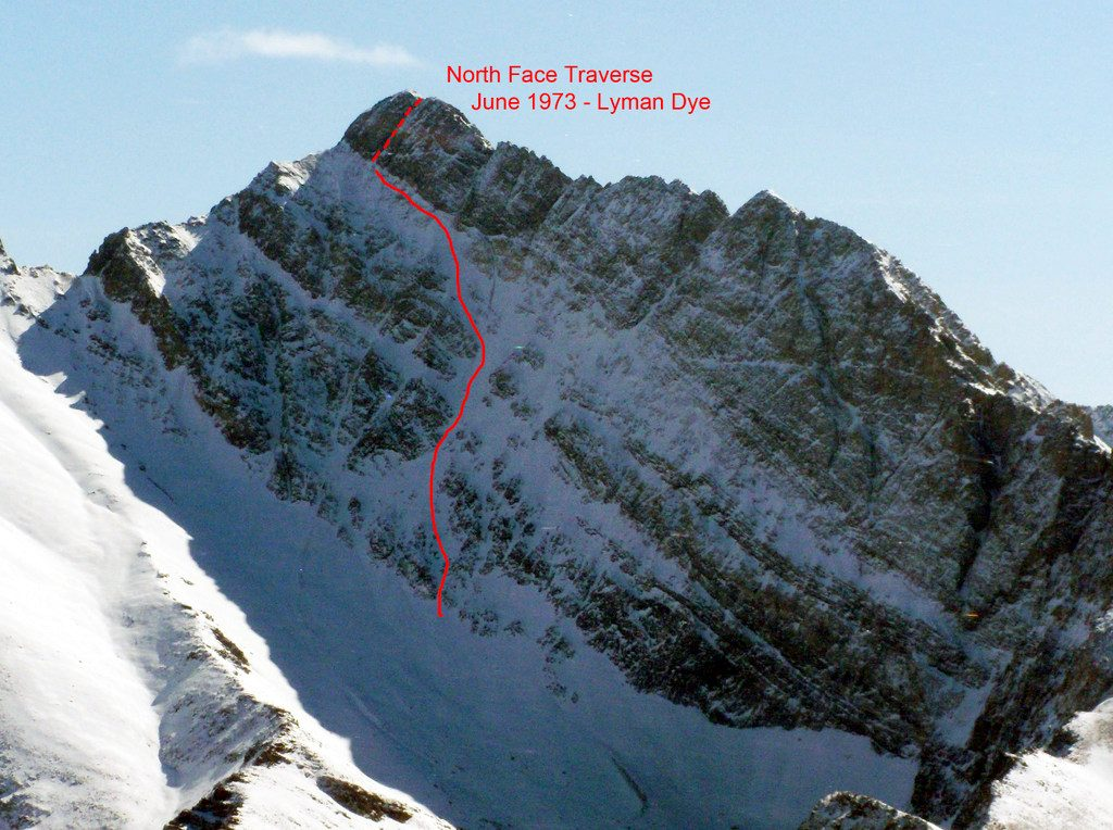 Borah North Face Traverse route. Photo - John Platt