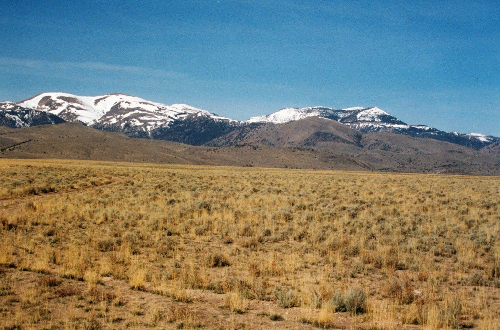The Owyhee Front from the Snake River Plain. Quicksilver an Hayden Peak.