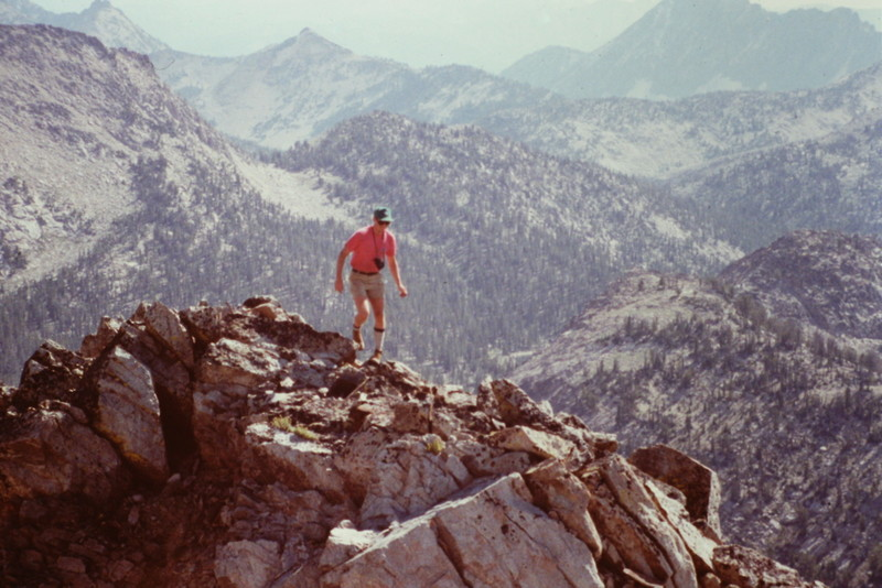 Gary Quigly negotiating Plummer's summit ridge.