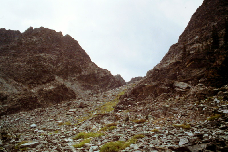 This slope leads up to the east face cirque.