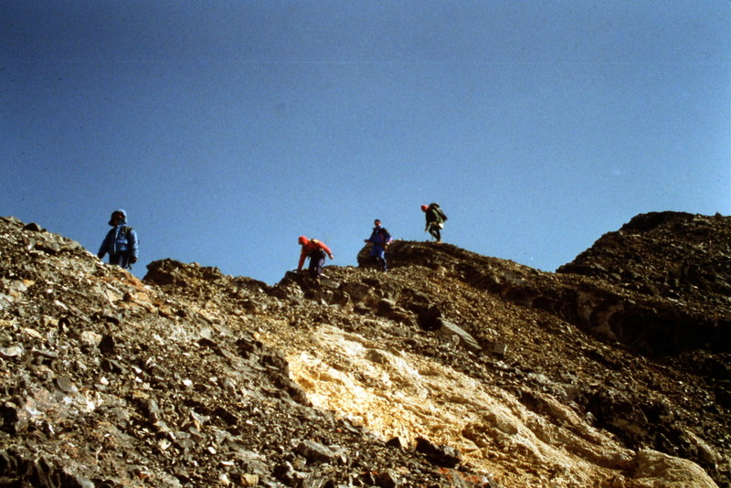 Moving along the ridge near the summit.