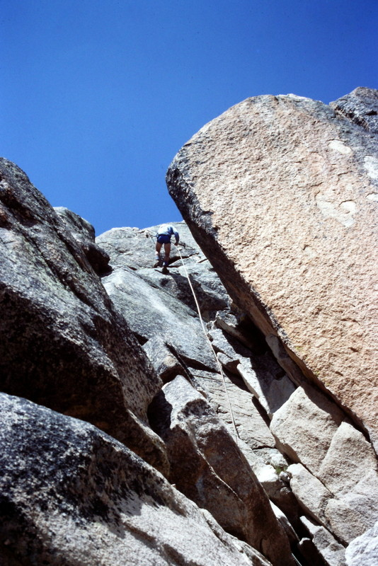 Rappelling off the south face.