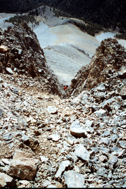 The saddle between Bad Rock Peak and Mount Church can be reached by climbing this debris filled gully.