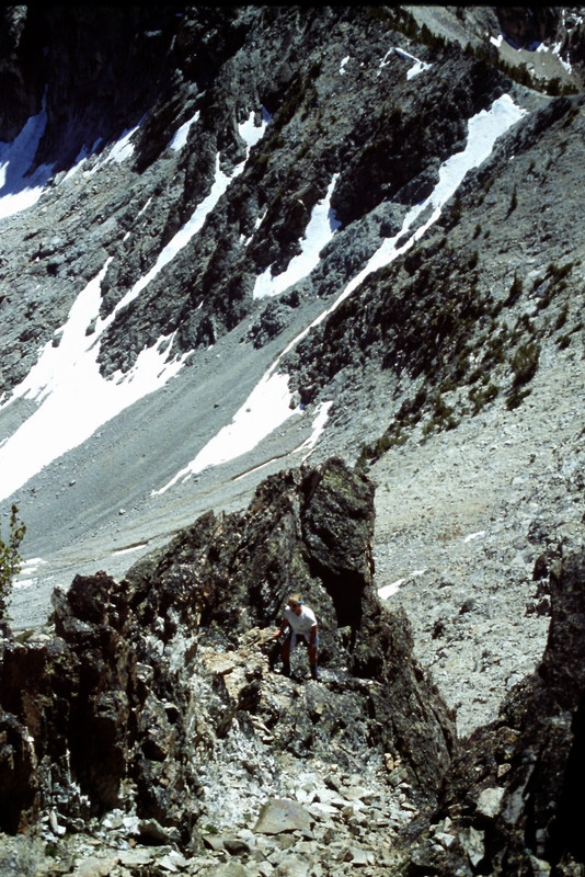 The south ridge is accessed from the west via highest Stephens Lake. Climb to the ridge top between the peak and Fishhook Spire. Once you reach the ridge you will have to find your way up and down toward the peak on a good goat trial.