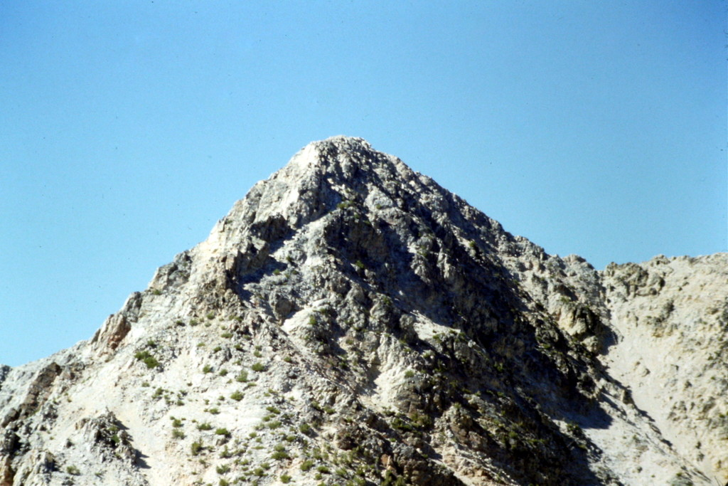 A telephoto shot of the upper portion of May Mountain.