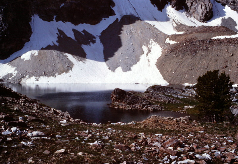 Pass Lake is a good but fragile place to camp when approaching Leatherman Peak from the east.