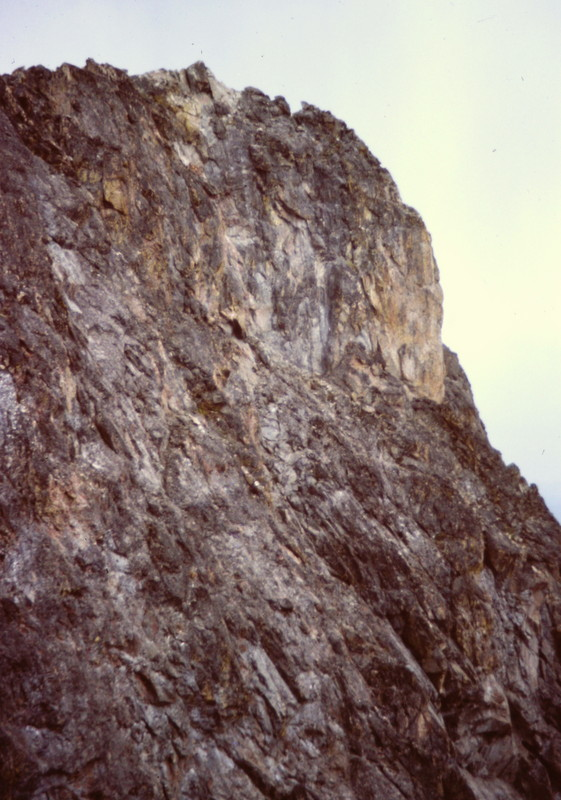 The mid and upper portion of the east face.