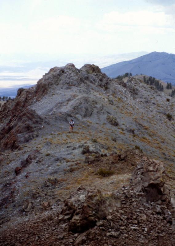 A climber on the Titus summit ridge just below the summit.