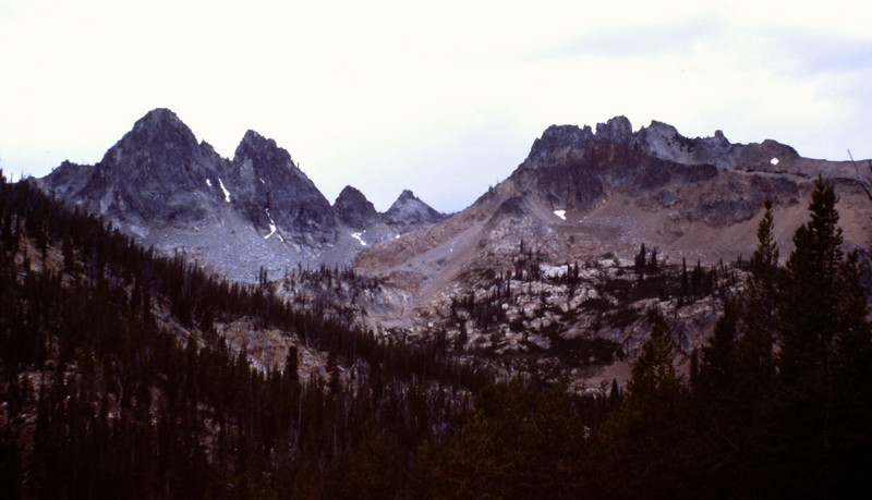 Looking south toward the Crimson Lake Cirque. The Black Towers are on the left and Cabin Creek Peak is on the right.