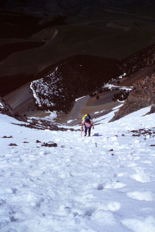 There was still a lot of snow in late June of 1995. The snow was a welcomed relief from the talus.