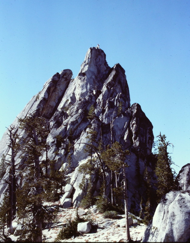 This formation is the hight point of Needles Peak. Its summit can be reached by a short Class 4 climb.