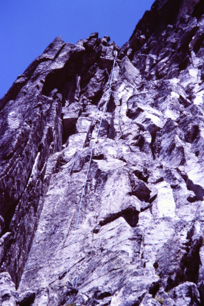 This photo shows the Rappel Chimney. Route (2) in the book.