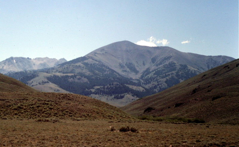 Big Black Dome viewed from the north and the Copper Basin Road. Most people climb the peak via its east ridge which is on the left side of this photo.