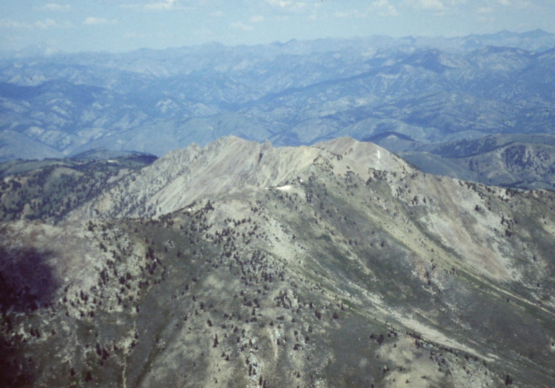 This areal shot shows both summits.