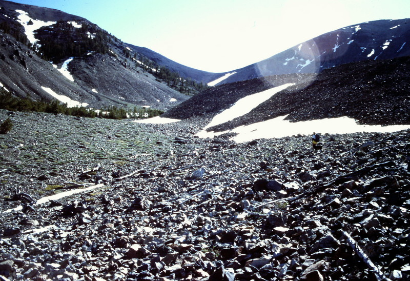 The long slog to the Boulder crest crosses a lot of talus and boulders.