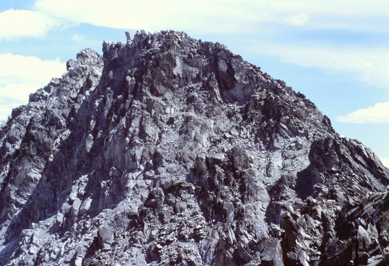 The true summit of Two Point Mountain viewed from the lower north summit.