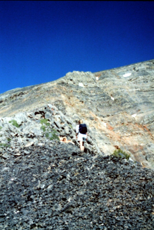 Ascending the peak's southeast ridge.
