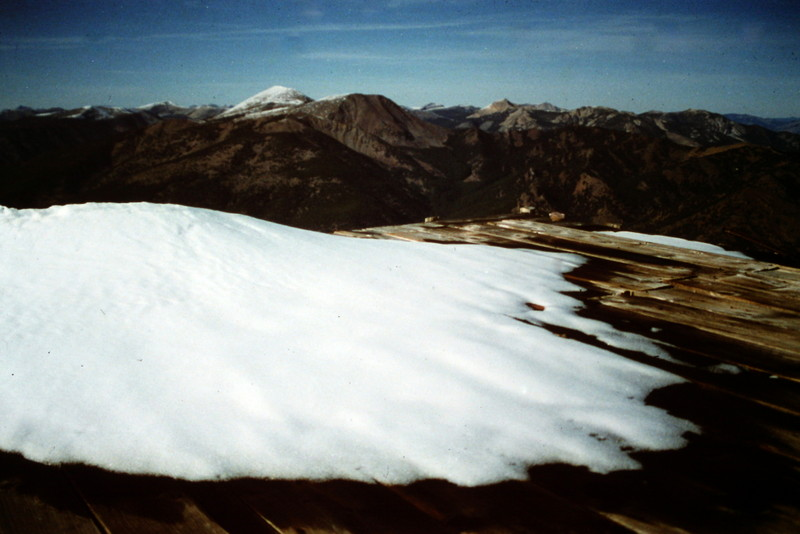 Snow on the remains of the old lookout in October of 1992.