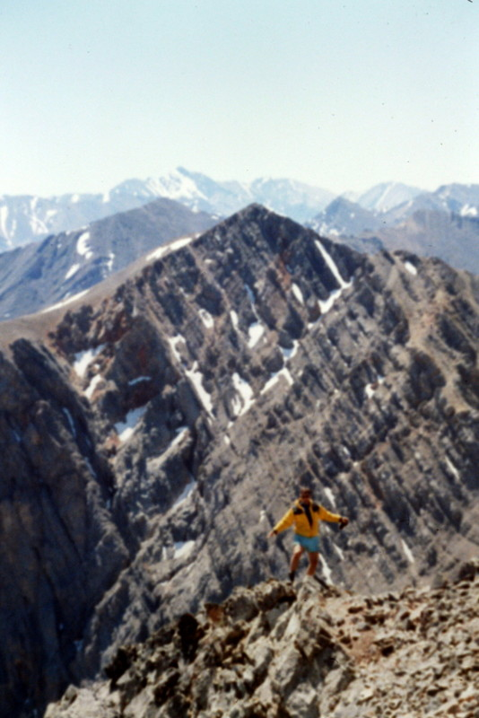 Ascending the peak's southeast ridge. Hope Peak in the background.