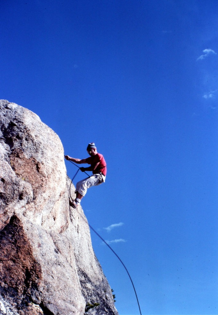 Paul Belamy rappelling off of Peak 9140 in 1984.