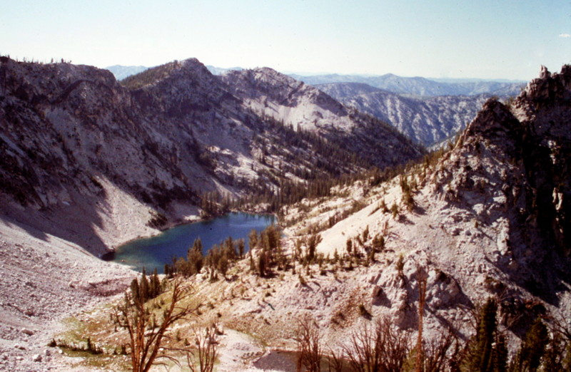 The view west to Scenic Lake from the summit.
