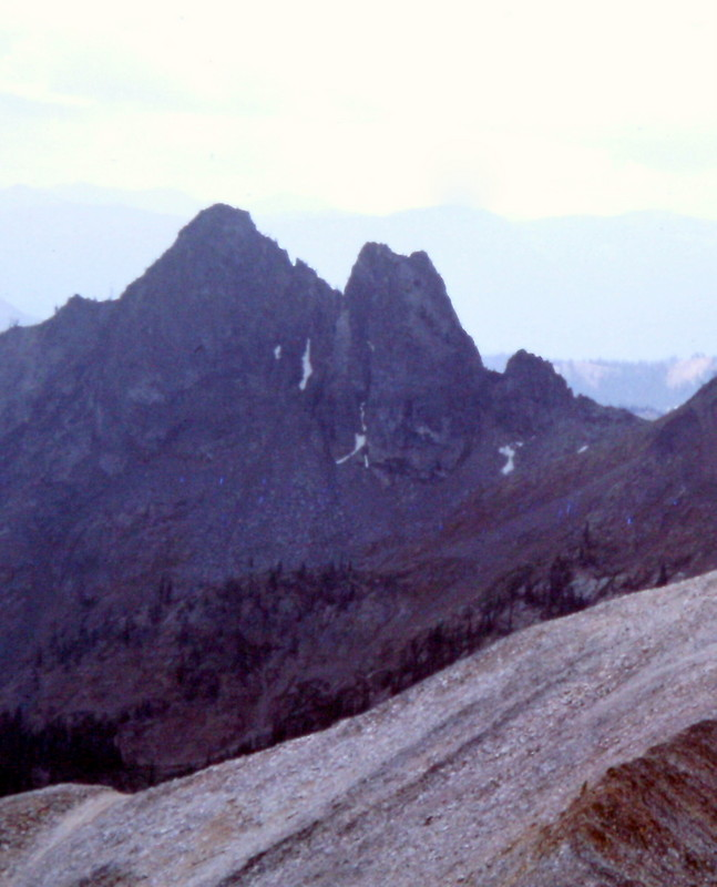 The Black Tower viewed from the north. Cabin Creek Peak is off to the right.