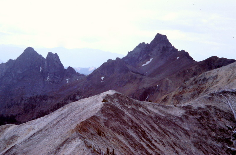 Cabin Creek Peak on the right and the Black Towers on the left viewed from Mount Loening.