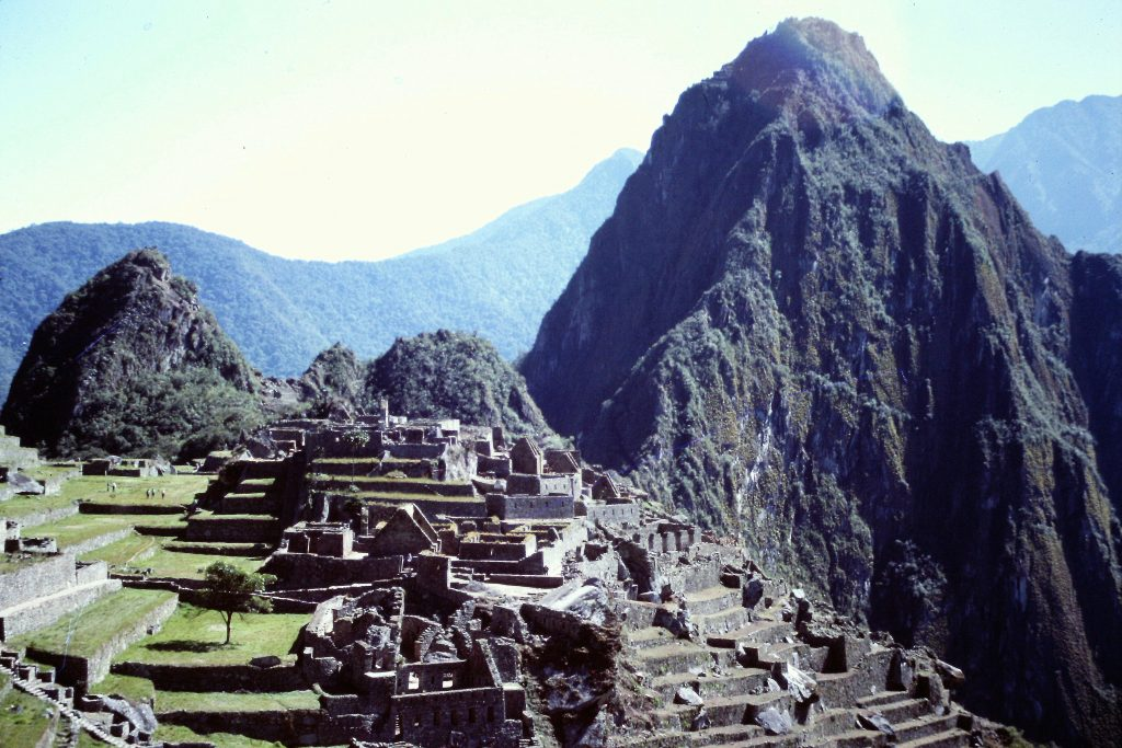 Huayna Picchu rises to the north of Machu Picchu.