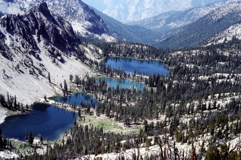 Terrace Lakes viewed from the east. The Middle Fork Salmon River is roughly 5,000 feet down this canyon.