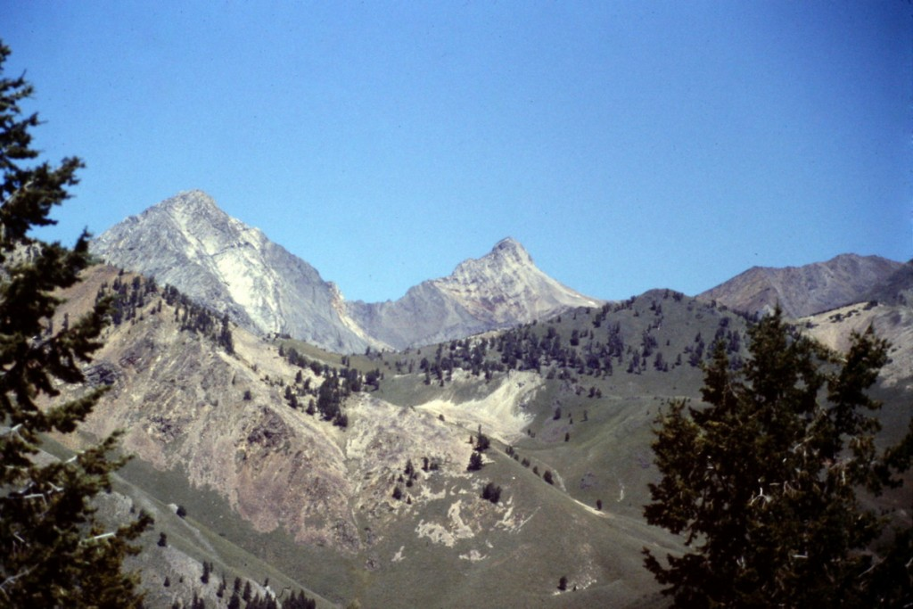 Cobb Peak and Old Hyndman viewed from the lower slopes of Grays Peak.