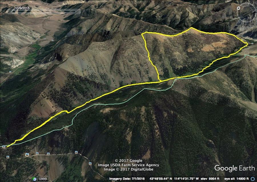 Phi Kappa & Summit Creek Peak. Mandella's GPS track.