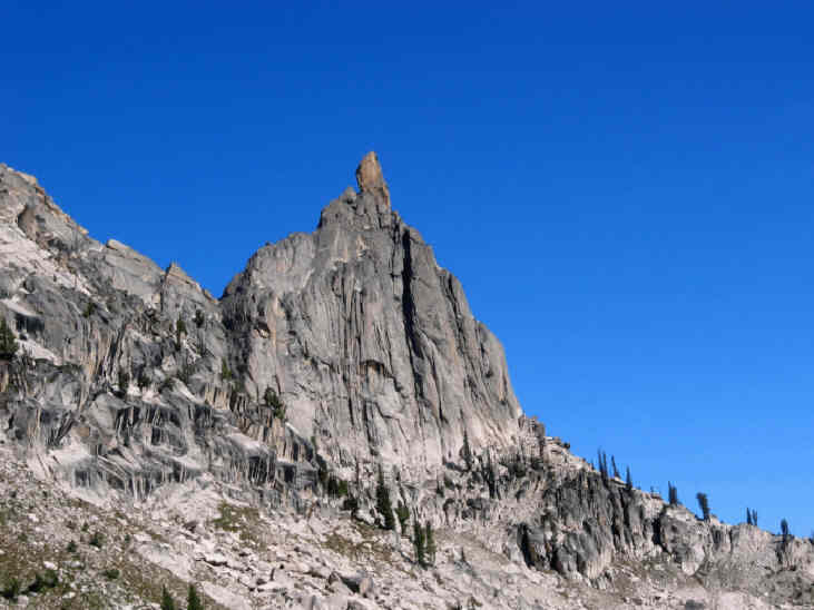 South face of what we thought was Warbonnet, actually Big Baron Spire.