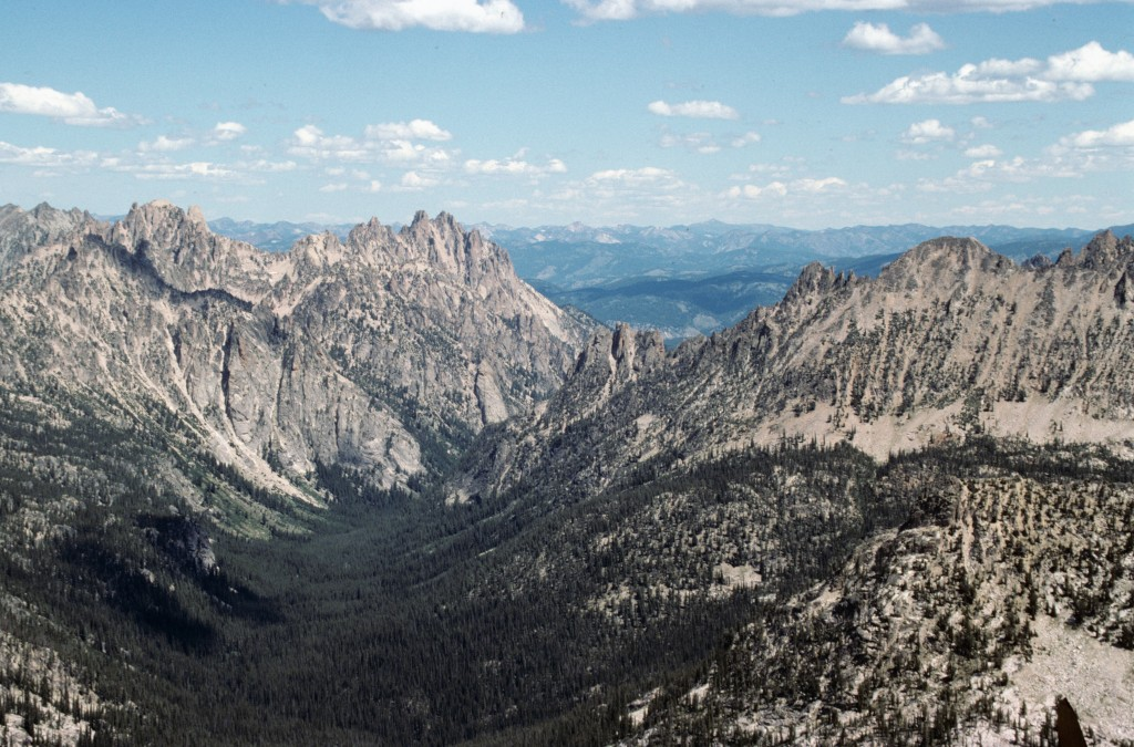 Redfish Lake Creek Canyon from Elk Peak with views of the Heyburn are on the left and the Elephant Perch area on the right.