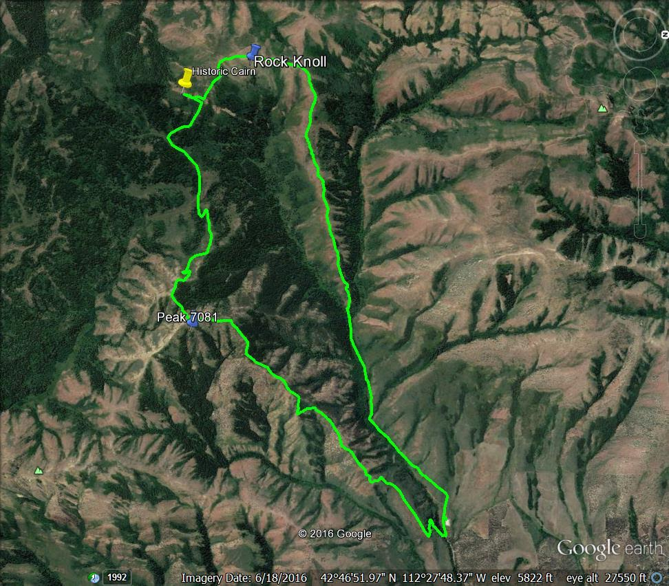 Peak 7081 and Rock Knoll Loop. GPS track - Margo Mandella