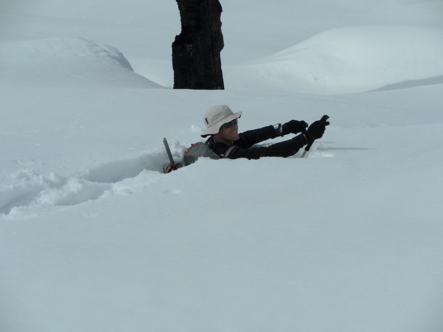 Example of a deep powder immersion. Dave has his snowshoes on. John Platt photo.