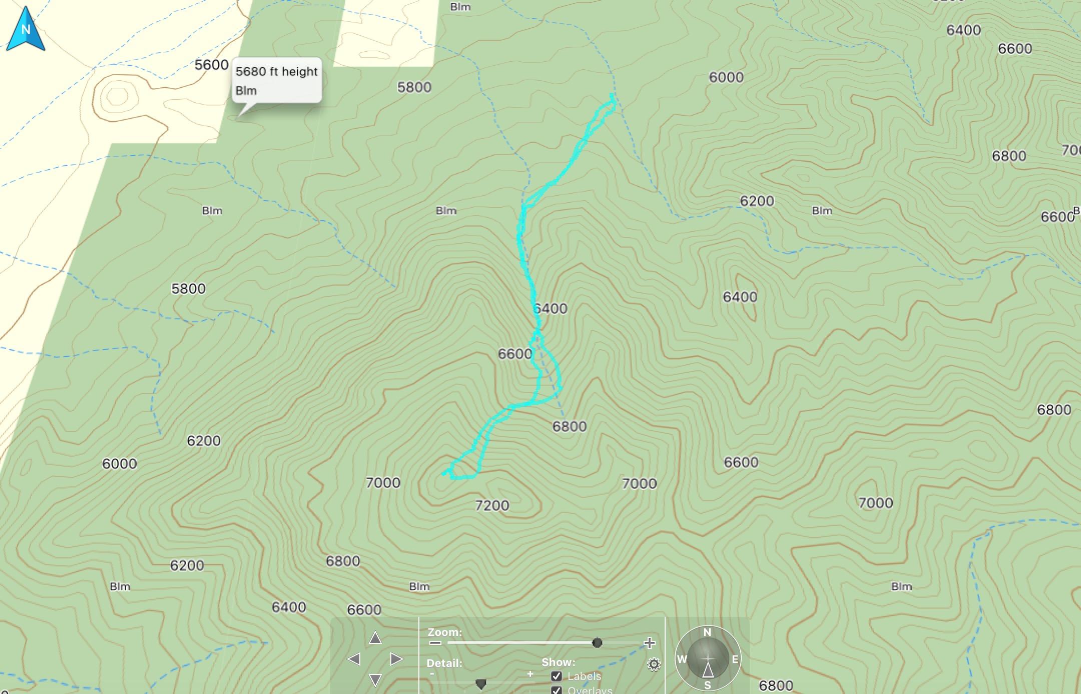 GPS track for Peak 7333 climb. Steve Mandella track.