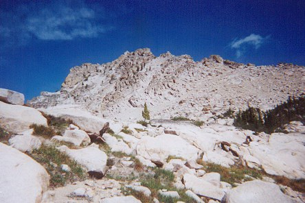 This photo shows the south face of Mount Sevy. The summit block is on the left side of the high point.