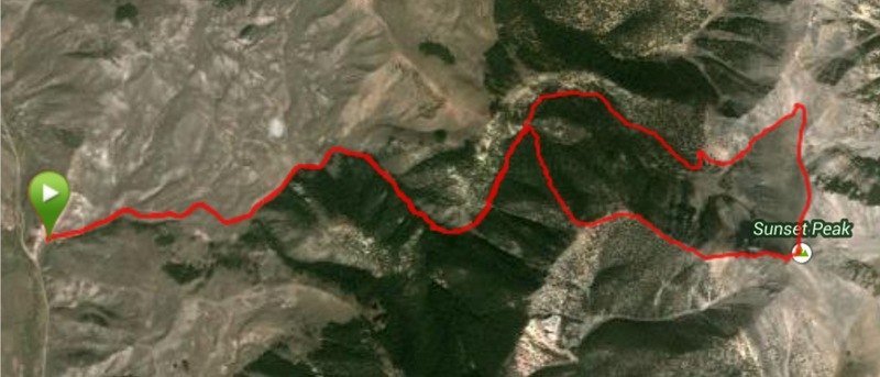 My GPS track for a traverse of the peak. We took the west ridge up and then dropped northwest of the summit and descended the adjacent canyon.