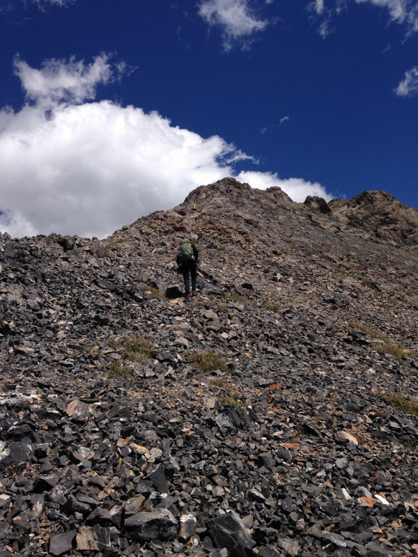 The final 300 feet cross talus and a few rocky obstructions.