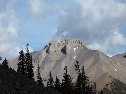 Triple Peak from upper Dry Creek. Route follows left side sky line until it reaches the cliffs.