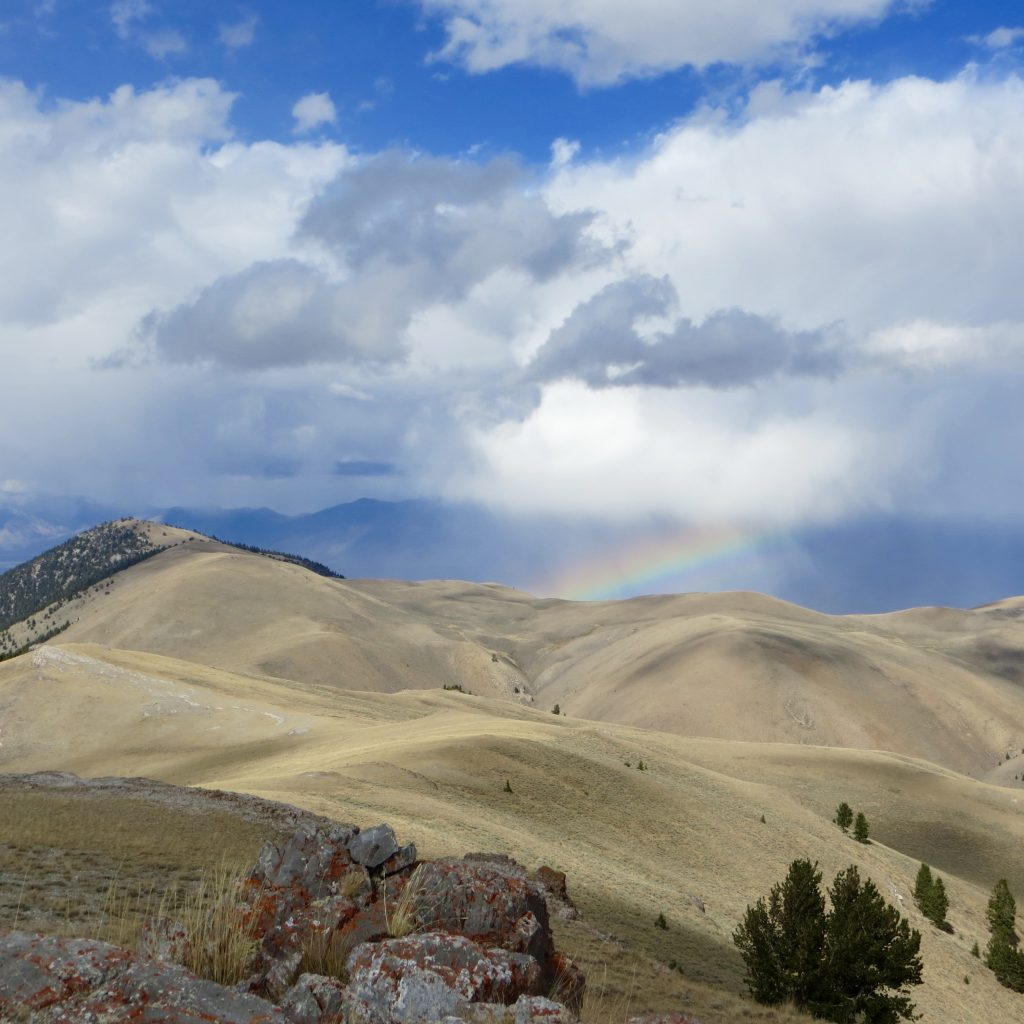 Sometimes your summit views include rainbows. From Peak 9053's summit. Steve Mandella photo.