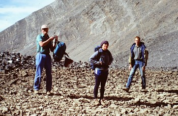 Gary Quigley, Dana Hansen and David Nielsen at the tarn below Mountain Church back when there was no climbers track l, 1987.