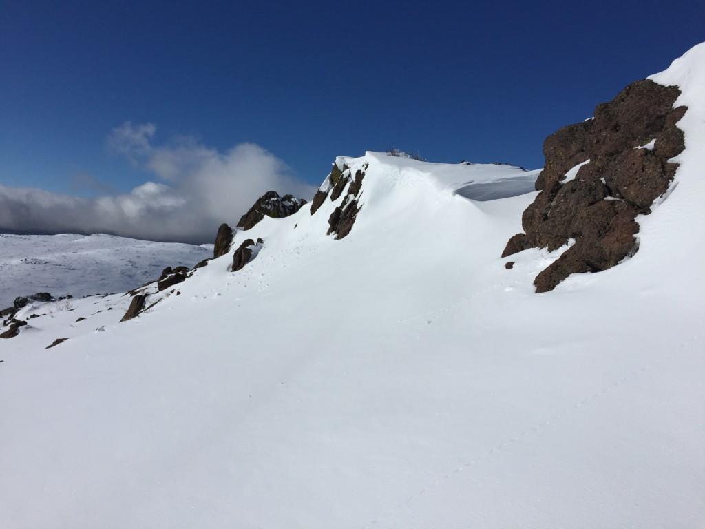 Cliffs just below the summit ridge.